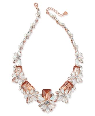 """Rose Gold-Tone Multi-Crystal Statement Necklace, 17"""" + 2"""" extender, Created for Macy's"""