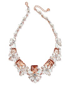 "Charter Club Rose Gold-Tone Multi-Crystal Statement Necklace, 17"" + 2"" extender, Created for Macy's"