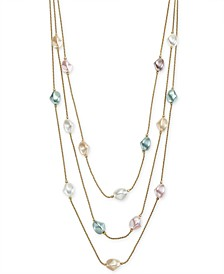 "Gold-Tone Imitation Baroque Pearl Layered Necklace, 20"" + 2"" extender, Created for Macy's"