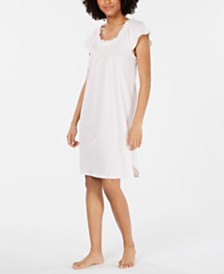 Miss Elaine Ruffled-Neck Printed Knit Nightgown