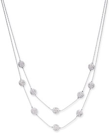 "Charter Club Pavé Filigree Ball Double-Row Necklace, 20"" + 2"" extender, Created for Macy's"