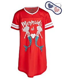 Max & Olivia Little & Big Girls Mermaids-Print Nightgown & Eye Shade