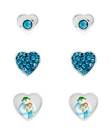 Snowman Cubic Zirconia Hearts Set of 3 Stud Earrings