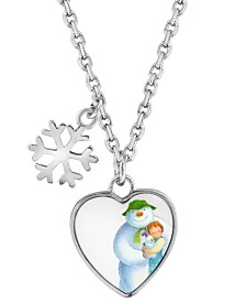 Snowman Snowflake and Heart Pendant Necklace