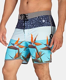 "Men's Phantom Bird Stretch Colorblocked Floral-Print 18"" Board Shorts"