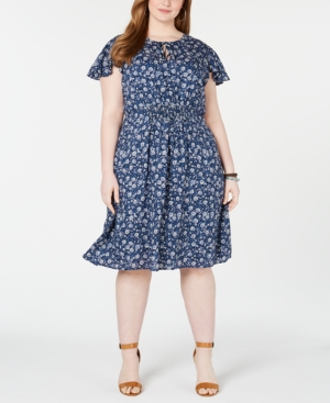 Lucky Brand Dresses PLUS SIZE OLIVIA PRINTED SHIRRED DRESS
