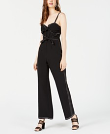 Bar III Contrast-Stitch Tie-Front Jumpsuit, Created for Macy's