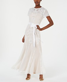 Nightway Petite Short-Sleeve Long Sequin Gown