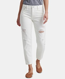 Lucky Brand Cotton Ripped Slim-Leg Boyfriend Jeans