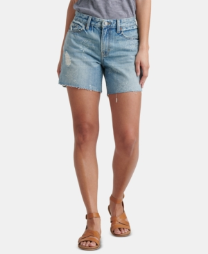 Lucky Brand Shorts COTTON PRINTED DISTRESSED BOYFRIEND SHORTS