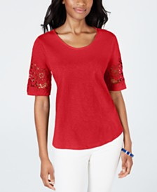 ad4447b425f835 Charter Club Cotton Lace-Trimmed Top, Created for Macy's
