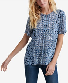 Lucky Brand Printed Flutter-Sleeve Top