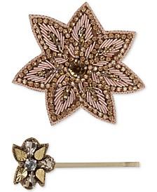 Deepa Gold-Tone Crystal and Bead Flower Hair Clip & Bobby Pin Set