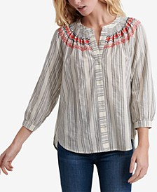 Striped Smocked Peasant Top