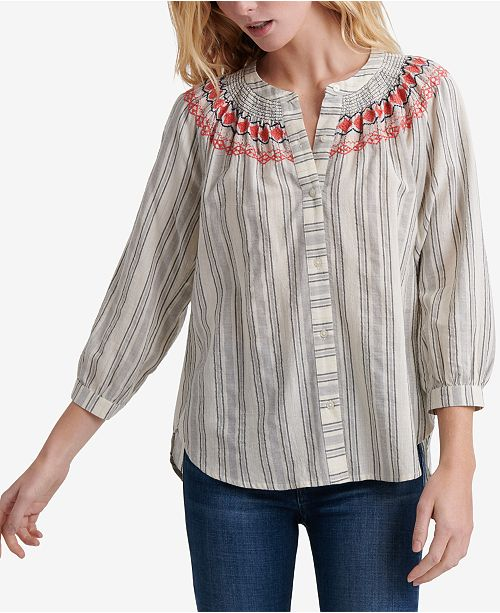 Lucky Brand Striped Smocked Peasant Top