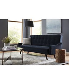 Oak Creek Click Clack Futon Sofa Bed in Navy Blue Velvet