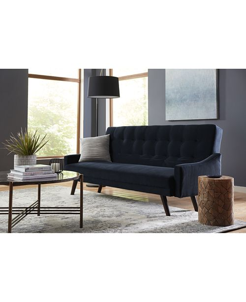 SUNDAY THEORY Oak Creek Click Clack Futon Sofa Bed in Navy Blue Velvet