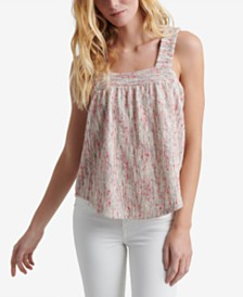 Lucky Brand Textured Square-Neck Top