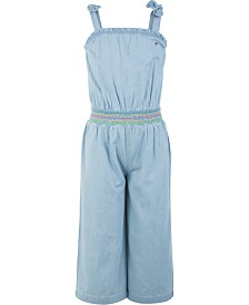 Tommy Hilfiger Big Girls Cotton Smocked Denim Jumpsuit