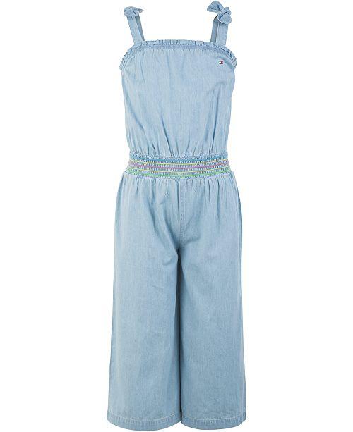 Tommy Hilfiger Big Girls Cotton Smocked Denim Jumpsuit