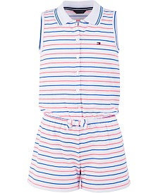Tommy Hilfiger Big Girls Striped Polo Romper