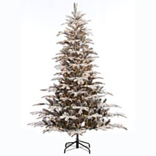 Puleo International 7.5 ft. Pre-lit Arctic Fir Flocked Artificial Christmas Tree 700 UL listed Clear Lights