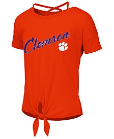 Colosseum Big Girls Clemson Tigers Tie Front Ballerina T-Shirt