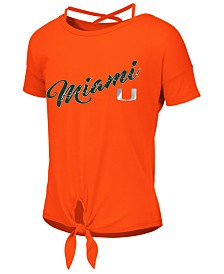 Colosseum Big Girls Miami Hurricanes Tie Front Ballerina T-Shirt