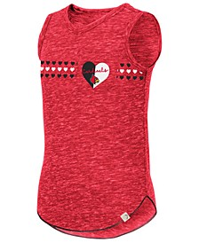 Big Girls Louisville Cardinals Distressed Heart Tank Top
