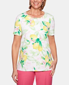 Alfred Dunner Petite Classic Printed Embellished Top