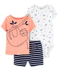 Carter's Baby Boys 3-Pc. Sloth T-Shirt, Bodysuit & Striped Shorts Set