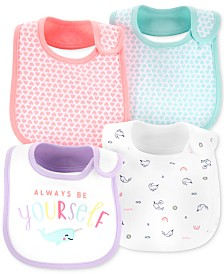 Carter's Baby Girls 4-Pack Printed Bibs