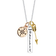 "Wander Multi-Charm 18"" Pendant Necklace in Sterling Silver and Gold & Rose Gold Flash-Plate"