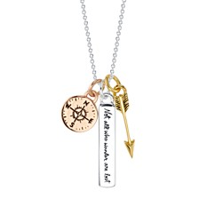 """Unwritten Wander Multi-Charm 18"""" Pendant Necklace in Sterling Silver and Gold & Rose Gold Flash-Plate"""