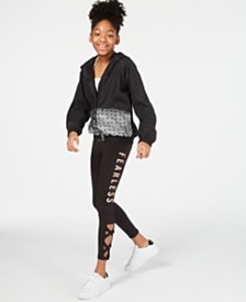 Ideology Big Girls Hooded Jacket, Graphic-Print Tank Top & Leggings Separates, Created for Macy's
