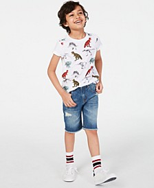 Little Boys Dinosaur T-Shirt & Destroyed Denim Shorts, Created for Macy's