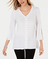 eab458c2a7f JM Collection Studded Textured Blouse