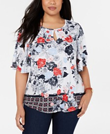 Charter Club Plus Size Flutter-Sleeve Top, Created for Macy's