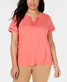 Charter Club Plus Size Cotton Crochet-Trim T-Shirt, Created for Macy's