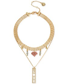 "BCBGeneration Gold-Tone Multi-Charm Collar Pendant Necklace, 14 + 3"" extender"