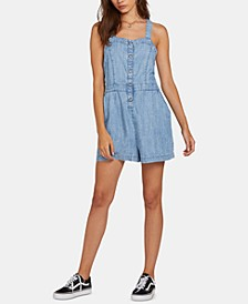 Juniors' Strappy-Back Chambray Romper
