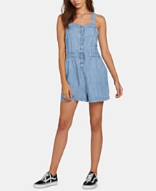 Volcom Juniors' Strappy-Back Chambray Romper