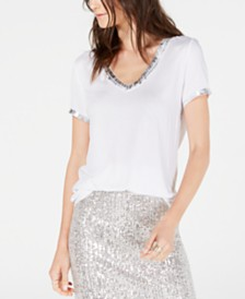 I.N.C. Metallic-Trim T-Shirt, Created for Macy's