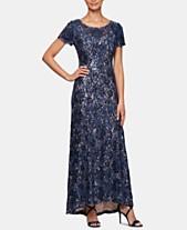 fb7650a6d77 Alex Evenings Petite Sequined Lace Illusion Gown