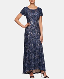 Alex Evenings Petite Sequined Lace Illusion Gown