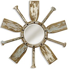 Weathered Nautical Wooden Beveled Mirror