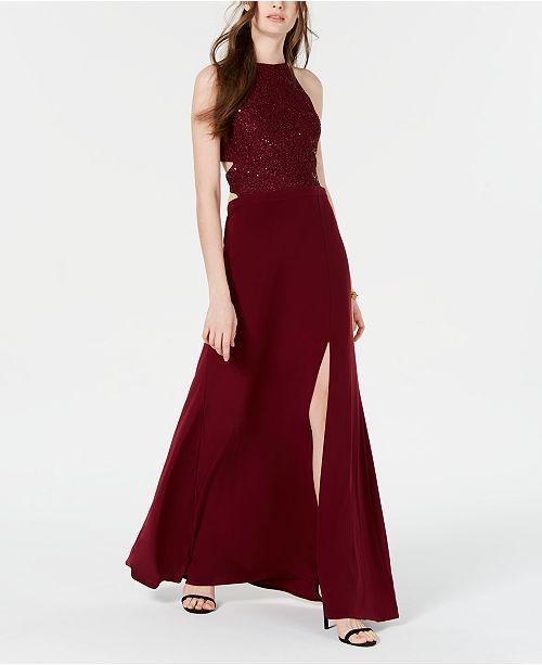 Morgan & Company Juniors' Sparkle Cross-Back Cutout Slit Gown