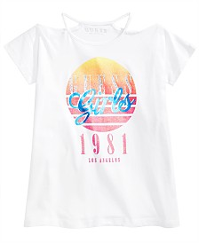 GUESS Big Girls Graphic-Print Cold Shoulder T-Shirt
