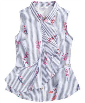 Big Girls Cotton Ruffle Embroidered Shirt
