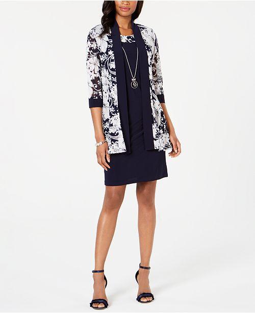 R & M Richards Petite Printed Jacket & Necklace Dress